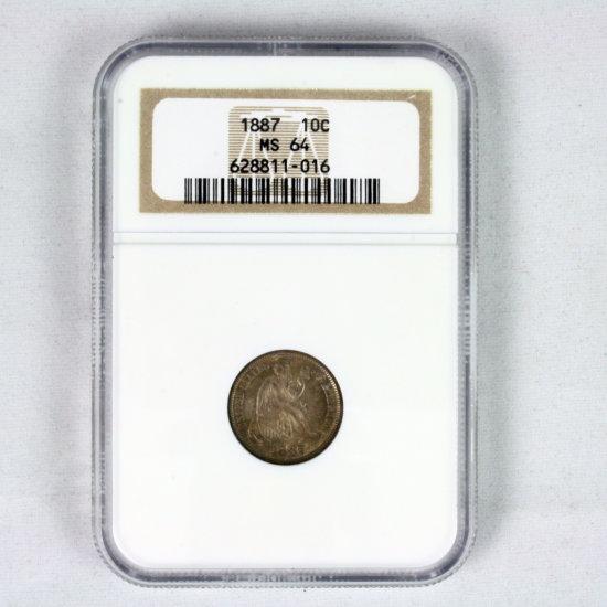 Certified 1887 U.S. seated Liberty dime