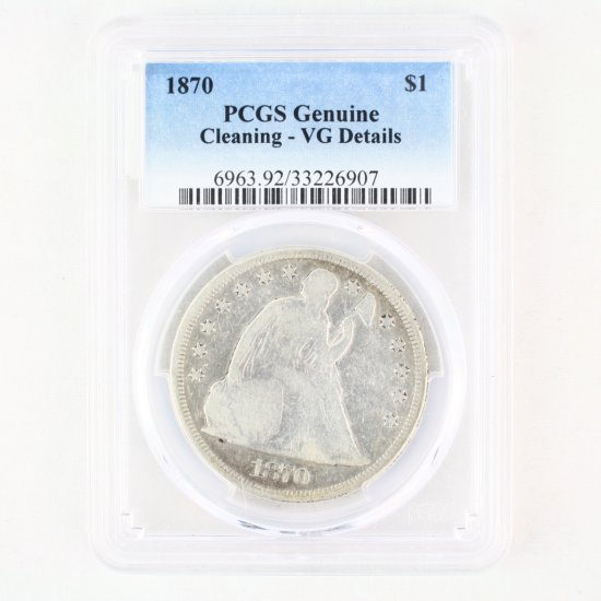 Certified 1870 U.S. seated Liberty silver dollar