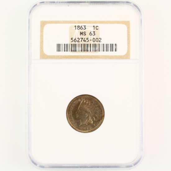 Certified 1863 U.S. Indian cent