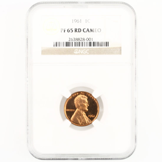 Certified 1961 U.S. proof Lincoln cent