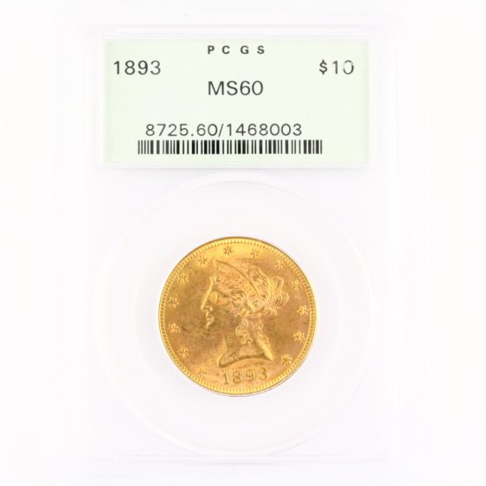 Certified 1893 U.S. $10 Liberty head gold coin