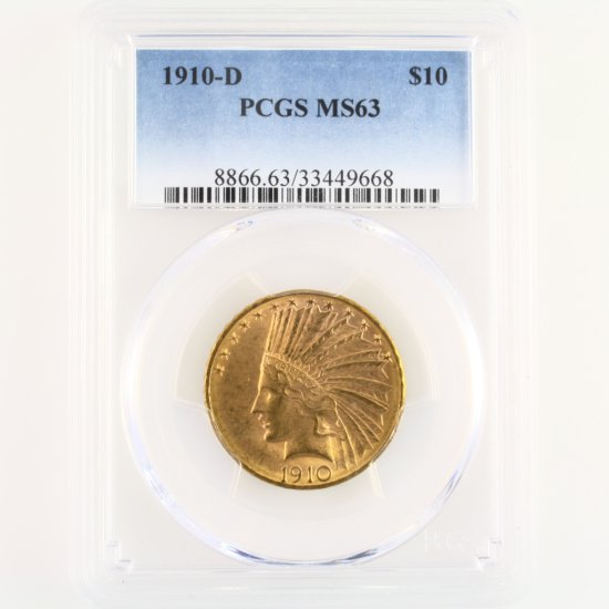 Certified 1910-D U.S. $10 Indian head gold coin