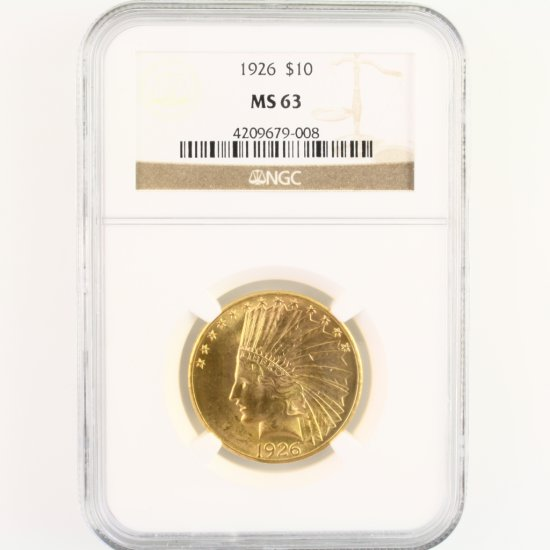 Certified 1926 U.S. $10 Indian head gold coin