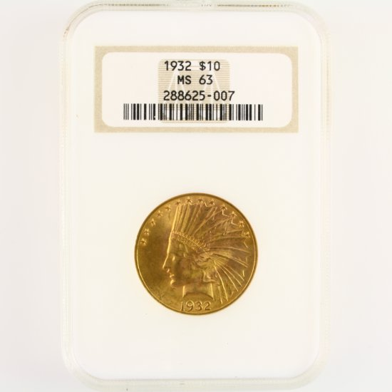 Certified 1932 U.S. $10 Indian head gold coin