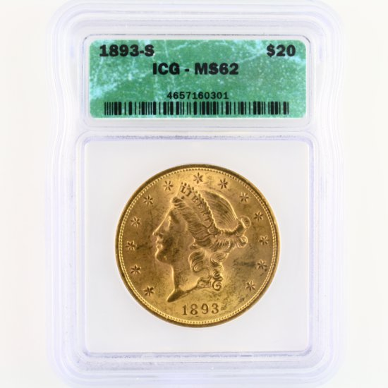 Certified 1893-S U.S. $20 Liberty head gold coin