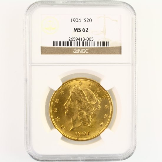 Certified 1904 U.S. $20 Liberty head gold coin