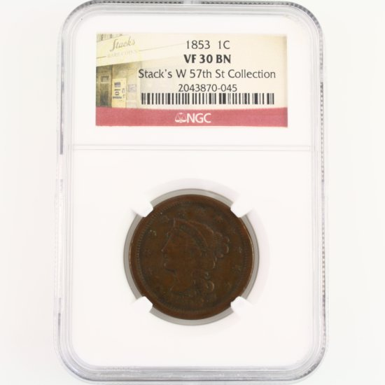 Certified 1853 U.S. braided hair large cent