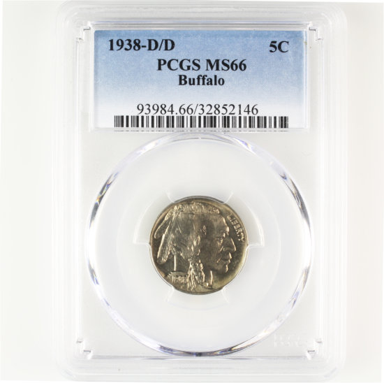 Certified 1938-D/D U.S. buffalo nickel