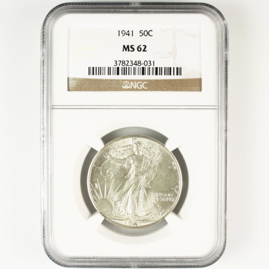 Certified 1941 U.S. walking Liberty half dollar