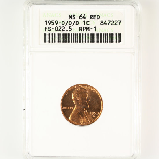 Certified 1959-D/D/D FS-022.5 RPM-1 U.S. Lincoln cent