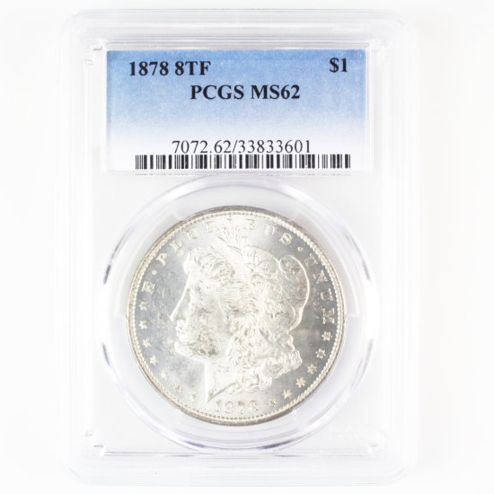 Certified 1878 8TF U.S. Morgan silver dollar
