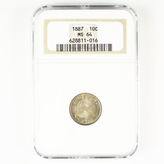 Certified 1887 U.S. seated Liberty dime