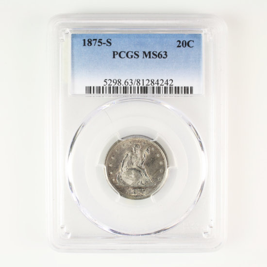 Certified 1875-S U.S. 20-cent piece
