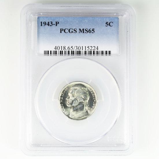 Certified 1943-P 35% silver U.S. Jefferson nickel