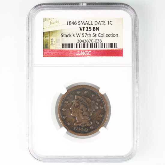 Certified 1846 small date U.S. braided hair large cent