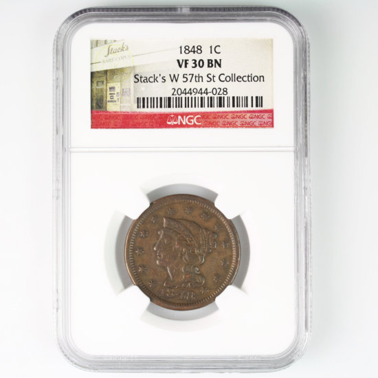 Certified 1848 U.S. braided hair large cent