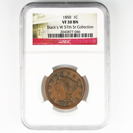 Certified 1850 U.S. braided hair large cent