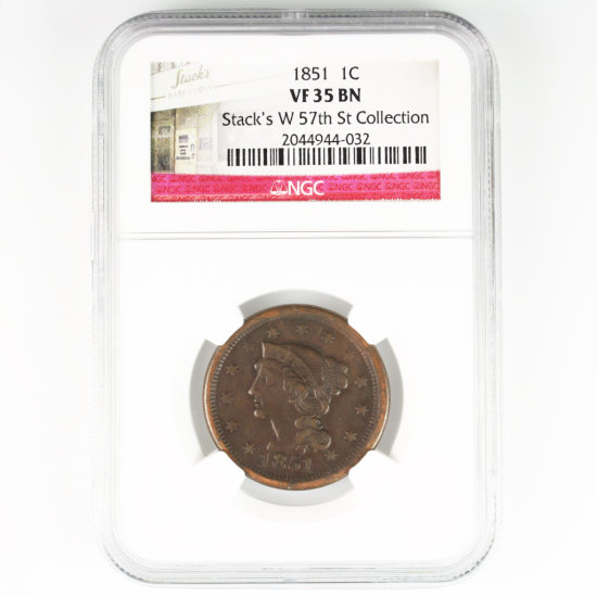 Certified 1851 U.S. braided hair large cent