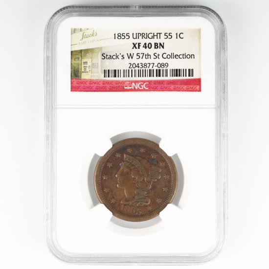 Certified 1855 upright 55 U.S. braided hair large cent