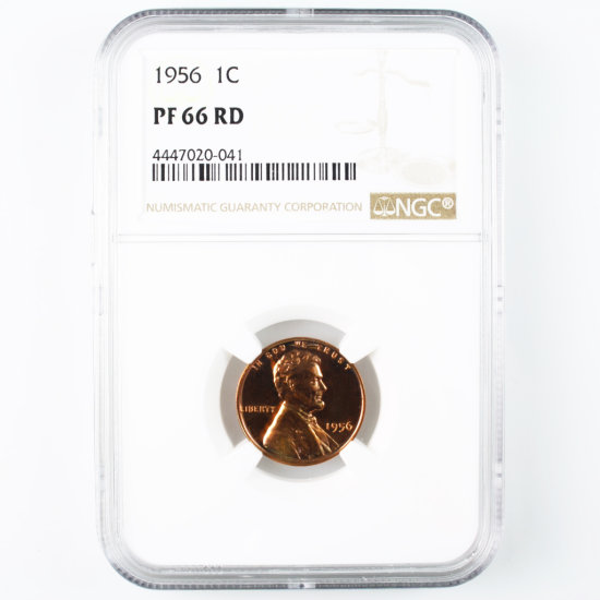 Certified 1956 U.S. proof Lincoln cent