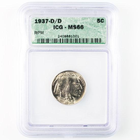 Certified 1937-D/D U.S. buffalo nickel