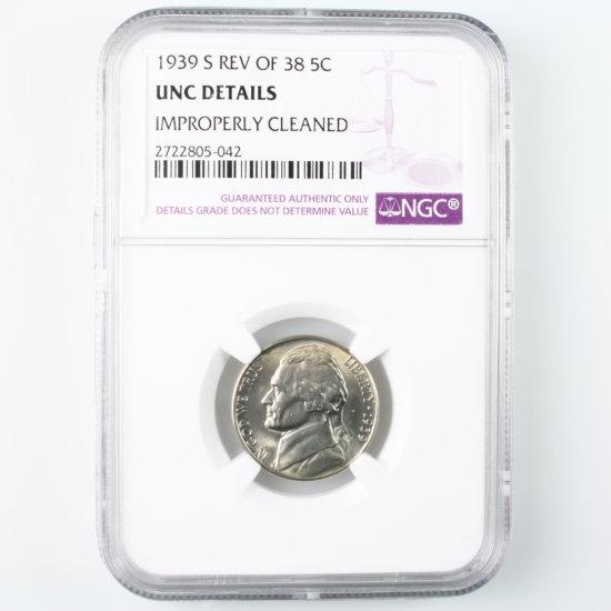 Certified 1939-S reverse of 1938 U.S. Jefferson nickel