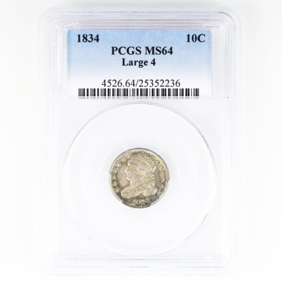 Certified 1834 large 4 U.S. capped bust dime