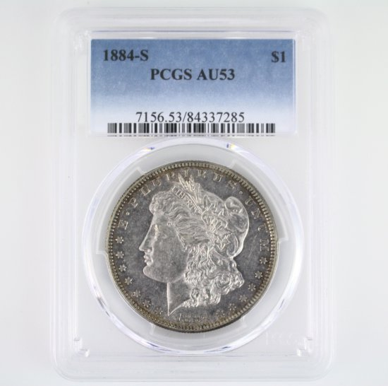 Certified 1884-S U.S. Morgan silver dollar