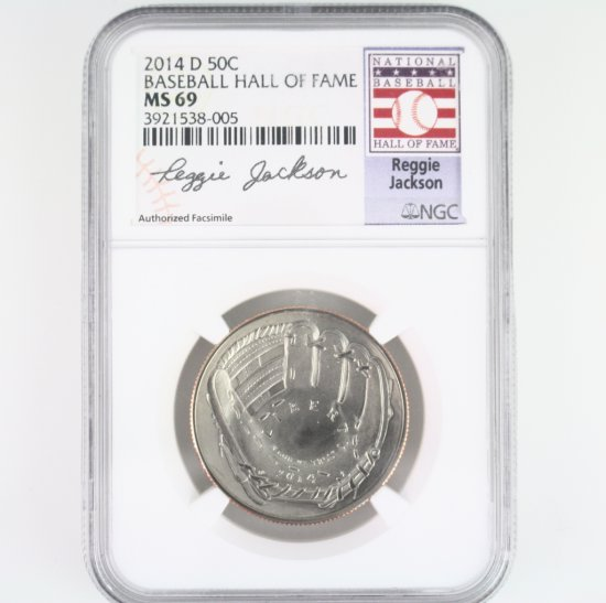 Certified 2014-D U.S. Reggie Jackson Baseball Hall of Fame commemorative half dollar
