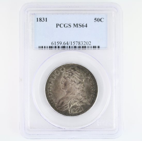 Certified 1831 U.S. capped bust half dollar