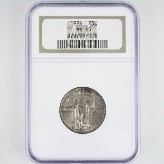 Certified 1926 U.S. standing Liberty quarter