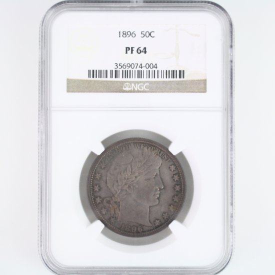 Certified 1896 U.S. Barber half dollar
