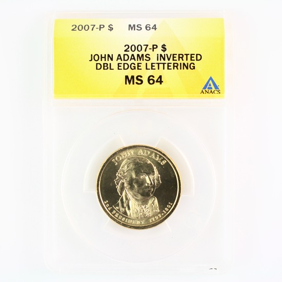 Certified 2007-P error U.S. John Adams presidential dollar