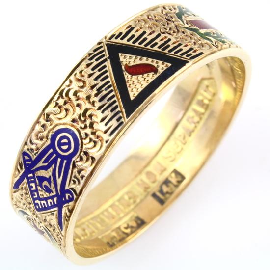 Vintage Masonic 14K yellow gold enamel band   Jewelry