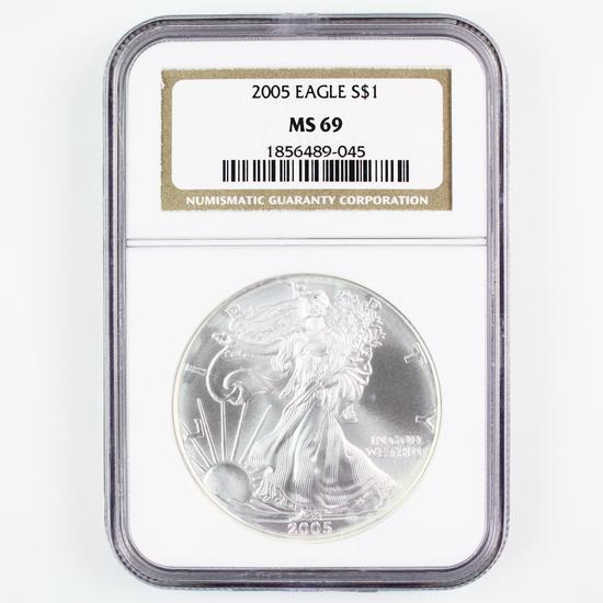 Certified 2005 U.S. American Eagle silver dollar