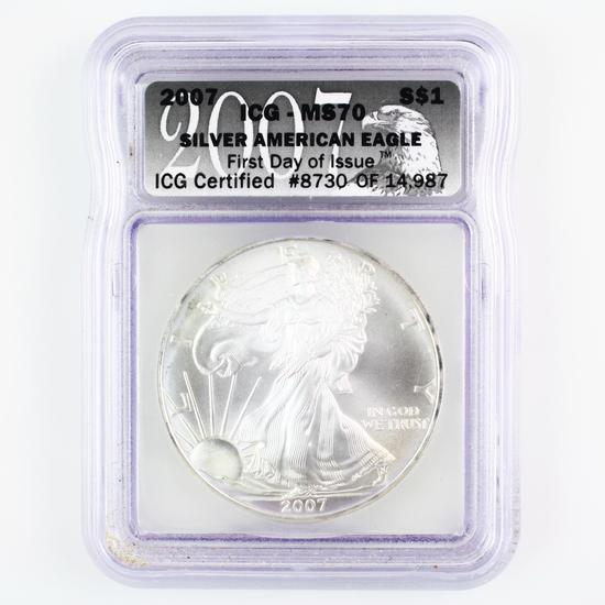 Certified 2007 U.S. American Eagle silver dollar