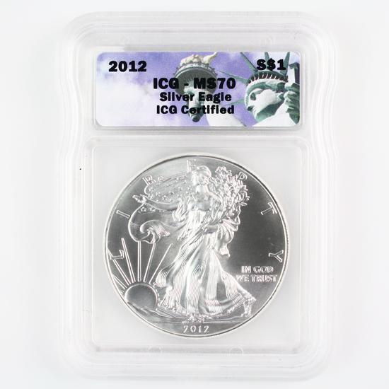 Certified 2012 U.S. American Eagle silver dollar