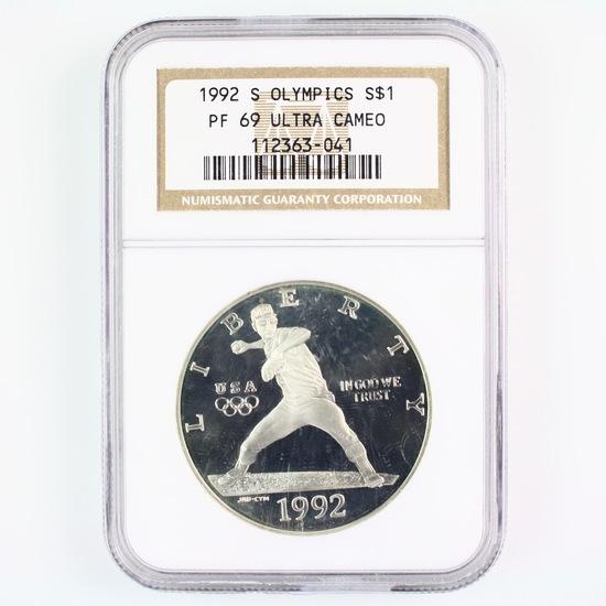 Certified 1992-S U.S. proof Olympics commemorative silver dollar