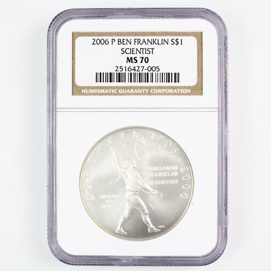 Certified 2006-P U.S. Ben Franklin, Scientist commemorative silver dollar