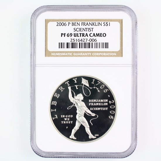 Certified 2006-P U.S. proof Ben Franklin, Scientist commemorative silver dollar
