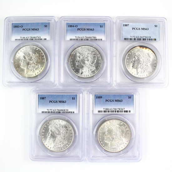 Investor's lot of 5 certified U.S. mixed date Morgan silver dollars