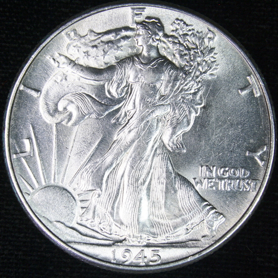 1945 U.S. walking Liberty half dollar