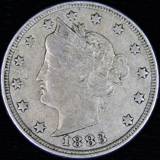 "1883 with cents U.S. ""V"" nickel"