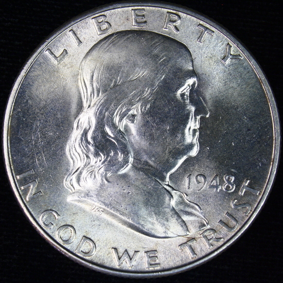 1948-D U.S. Franklin half dollar