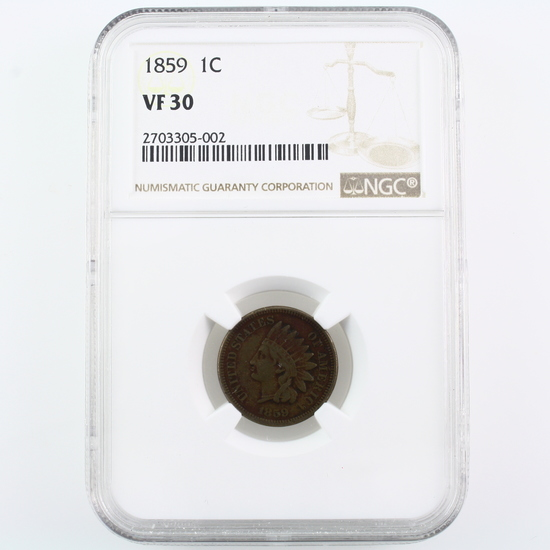 Certified 1859 U.S. Indian head cent
