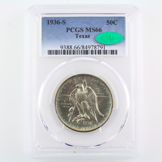 Certified 1936-S U.S. Texas Centennial commemorative half dollar