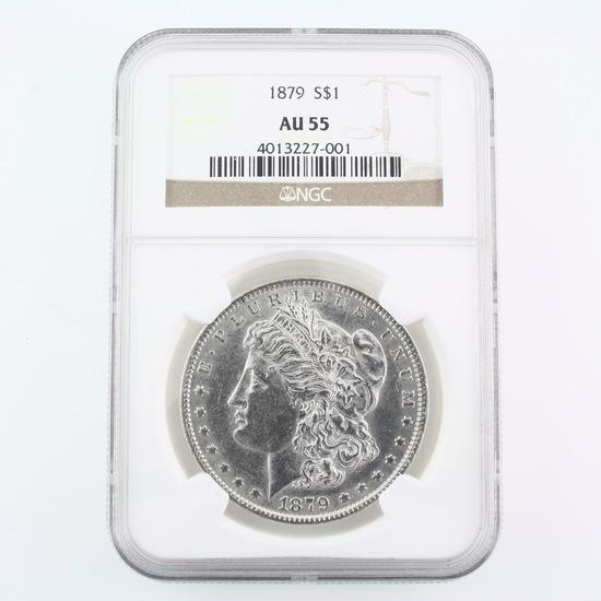 Certified 1879 U.S. Morgan silver dollar