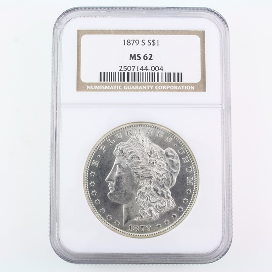Certified 1879-S U.S. Morgan silver dollar