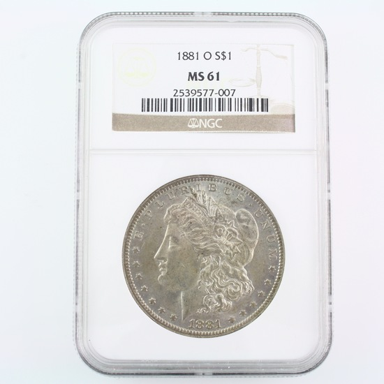 Certified 1881-O U.S. Morgan silver dollar