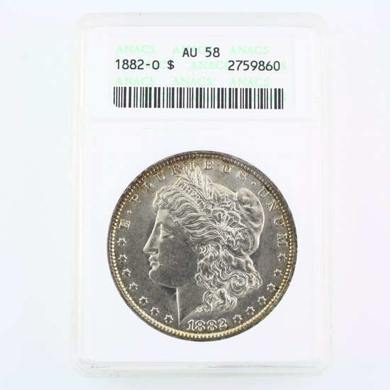 Certified 1882-O U.S. Morgan silver dollar